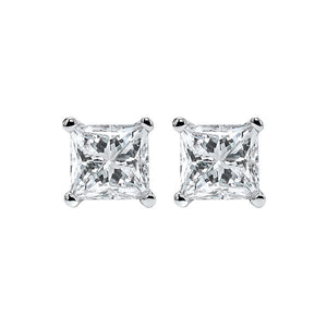 14kw prong p/cut diamond studs 2ct, fr1067-4wd
