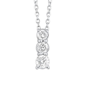 14kw 3 stone prong diamond necklace 1/2ct, fr1079-4p