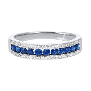 14kw 3 row multi channel diamond & sapphire band 1/8ct, rg10053-4yd