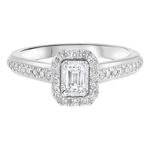 14K White 1/2ctw Emerald Cut Ring with 1/3 center, Fernbaugh's Jewelers, RG63186-4WB