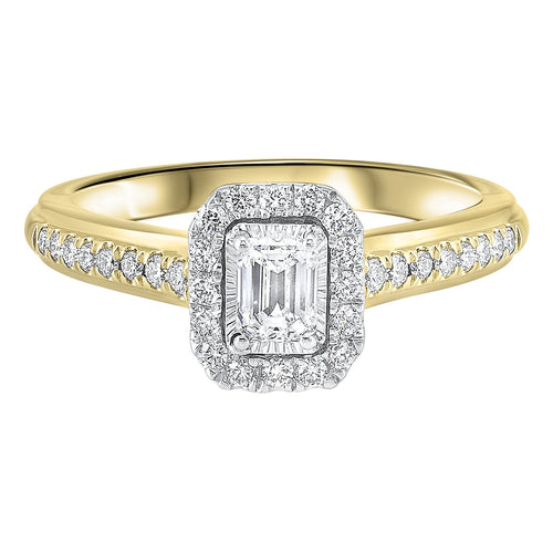 14K TT White/Yellow 1/2ctw Emerald Cut Ring with 1/3 center, Fernbaugh's, RG63186-4WYB