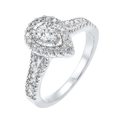 14kw tru ref pear halo prong ring 1ct, fb1179-ss