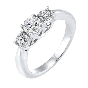 14kw 3 stone round prong ring 3/4ct, fr1220-1w