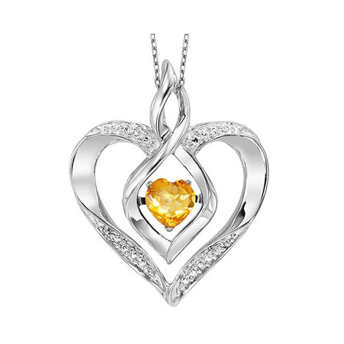 ss rol prong citrine necklace 1/250ct, eao64-4w