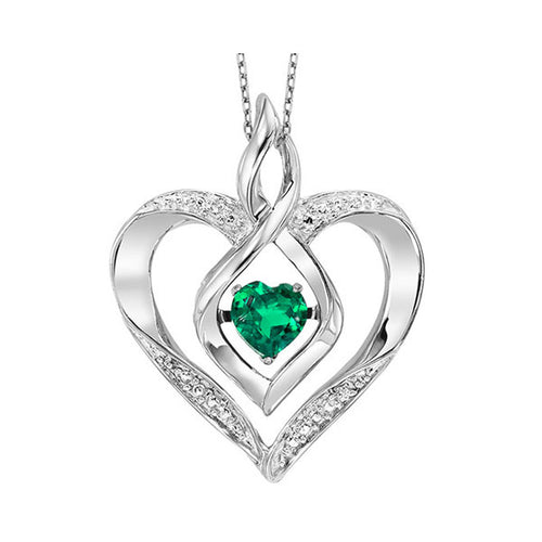 ss rol prong emerald necklace 1/250ct, ewo54-4w