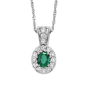 14kw color ens halo prong emerald pendant 1/7ct, rg70630-4wc