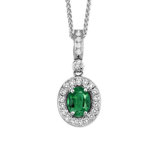 14kw color ens halo prong emerald pendant 1/8ct, rg68798-4wc