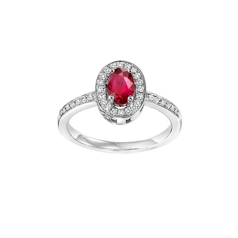 14kw color ens halo prong ruby ring 1/5ct, rg70614-4wc