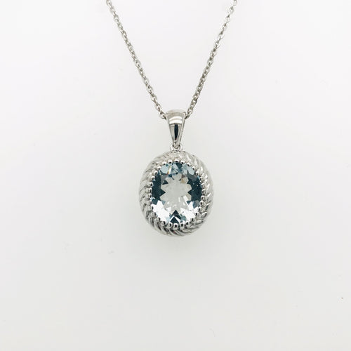 Sterling Silver Oval Aquamarine Pendant