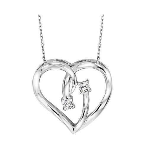 Silver Diamond Heart Pendant, Fernbaugh's, TWO1021-SSD