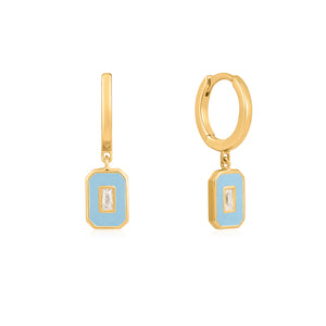 powder blue enamel emblem gold hoop earrings