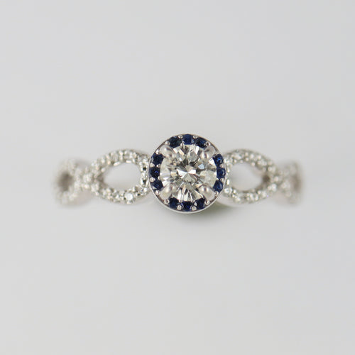 Diamond Ring with Blue Sapphire Halo