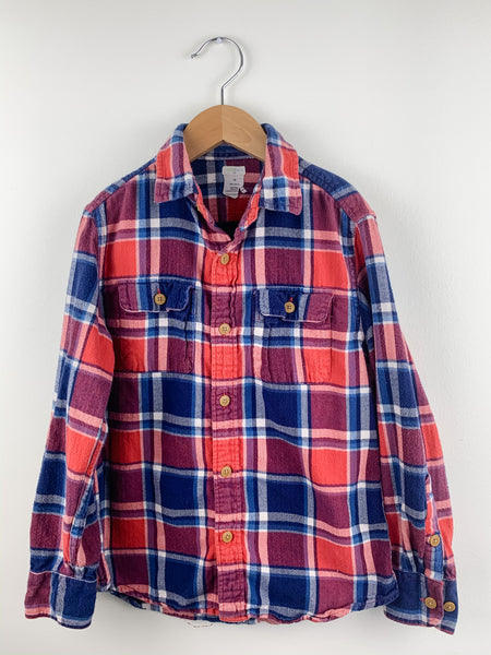 Crewcuts Boys Plaid Red/White/Navy Flannel Shirt 10