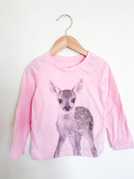Cat & Jack Toddler Girls Pink Deer LS Tee 4T