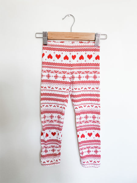 Old Navy Toddler Girls Red/White Heart Fairisle Leggings 4T