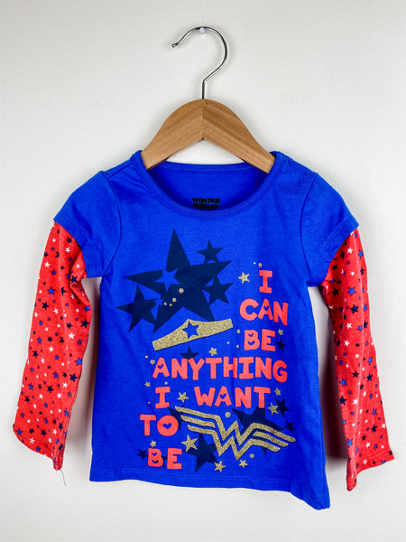 Wonder Woman Toddler Girl LS Top 4T