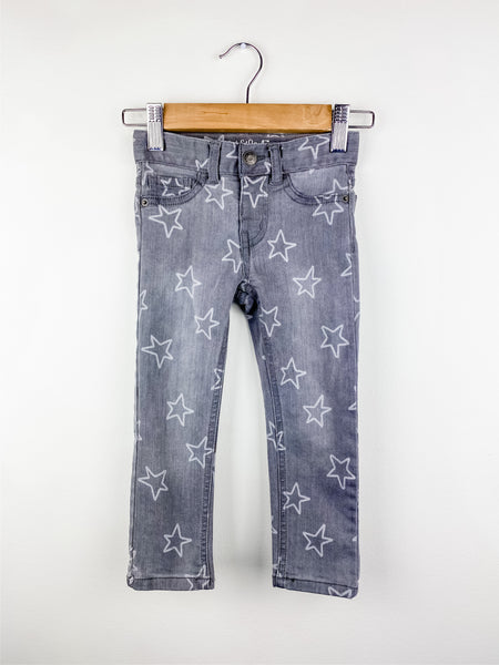 Cat & Jack Toddler Girl Gray Star Skinny Jeans 3T