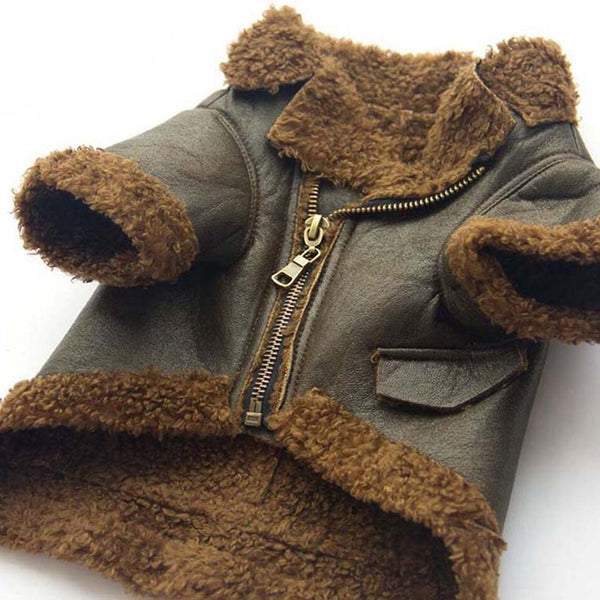 Dog Retro Leather Zipper Jacket