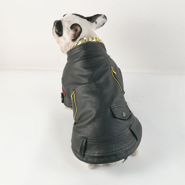 Warm PU Leather Dog Jackets - Large Sizes Available