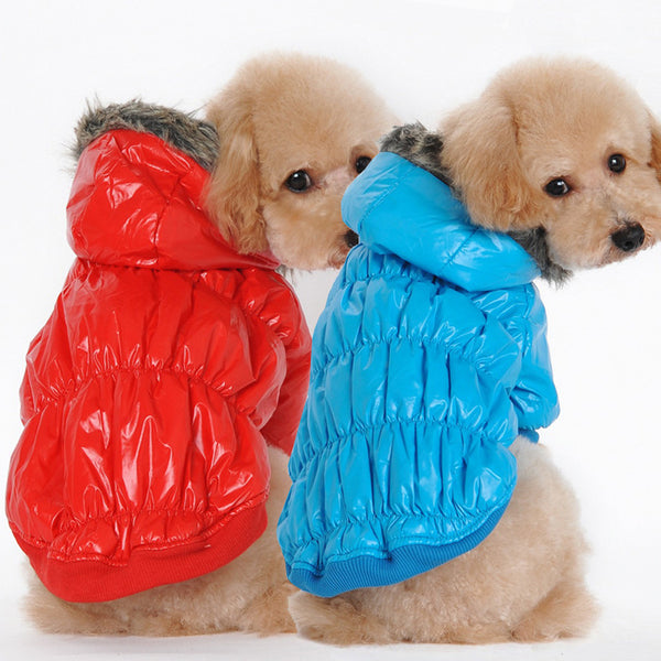 Warm Winter Dog Puffa Jacket with Fur Hoodie