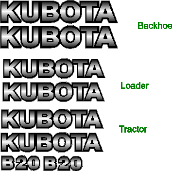 Kubota B20 Decal Set