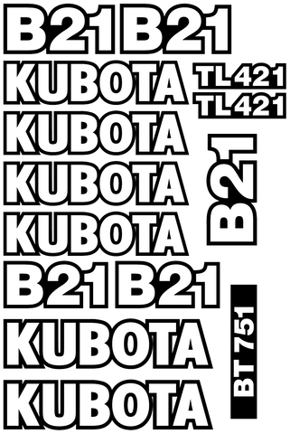 Kubota B21 Decal Set