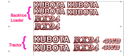 Kubota BX24 Decal Set