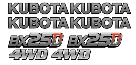 Kubota BX25D 1 Decal Set