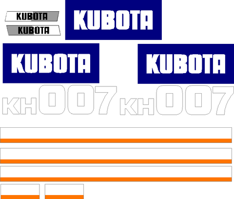 Kubota KH007 Decal Set