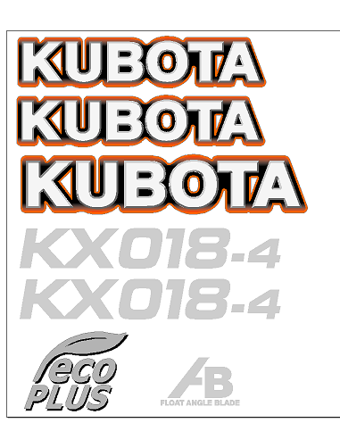 Kubota KX018 4 Decal Set