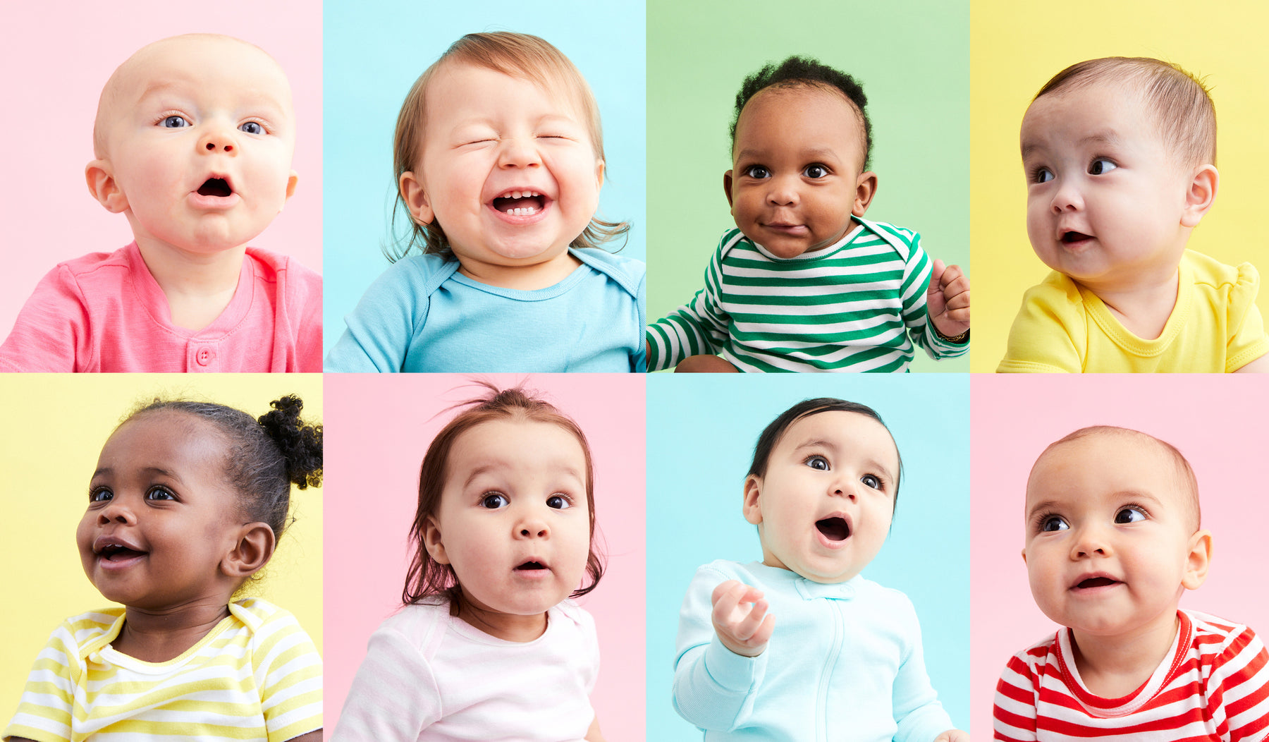 collage of close up portraits of baby boys and girls in colorful clothing on colorful backgrounds