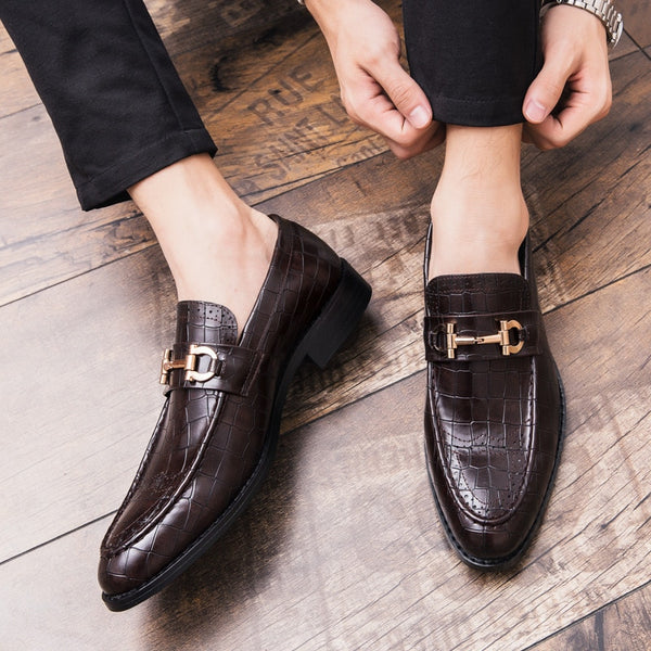 Brogue Crocodile Pattern Leather Shoes