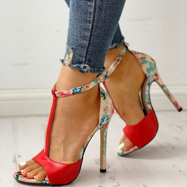 Buckle Strap Floral Pattern High Heels