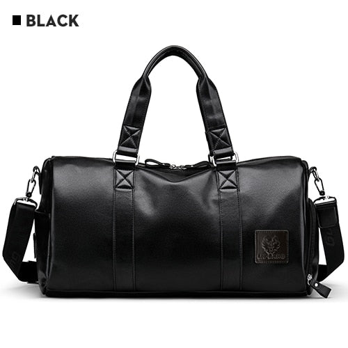 Black Leather Travel Duffle Bag