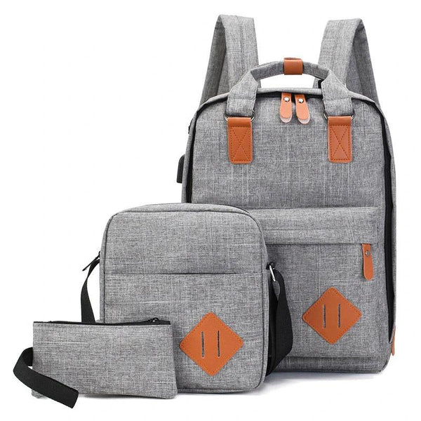 3 pieces Men's Student Backpack
