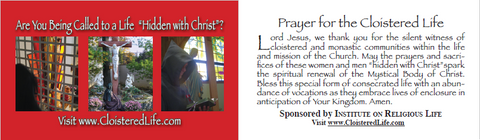 Cloistered Life Prayer Card