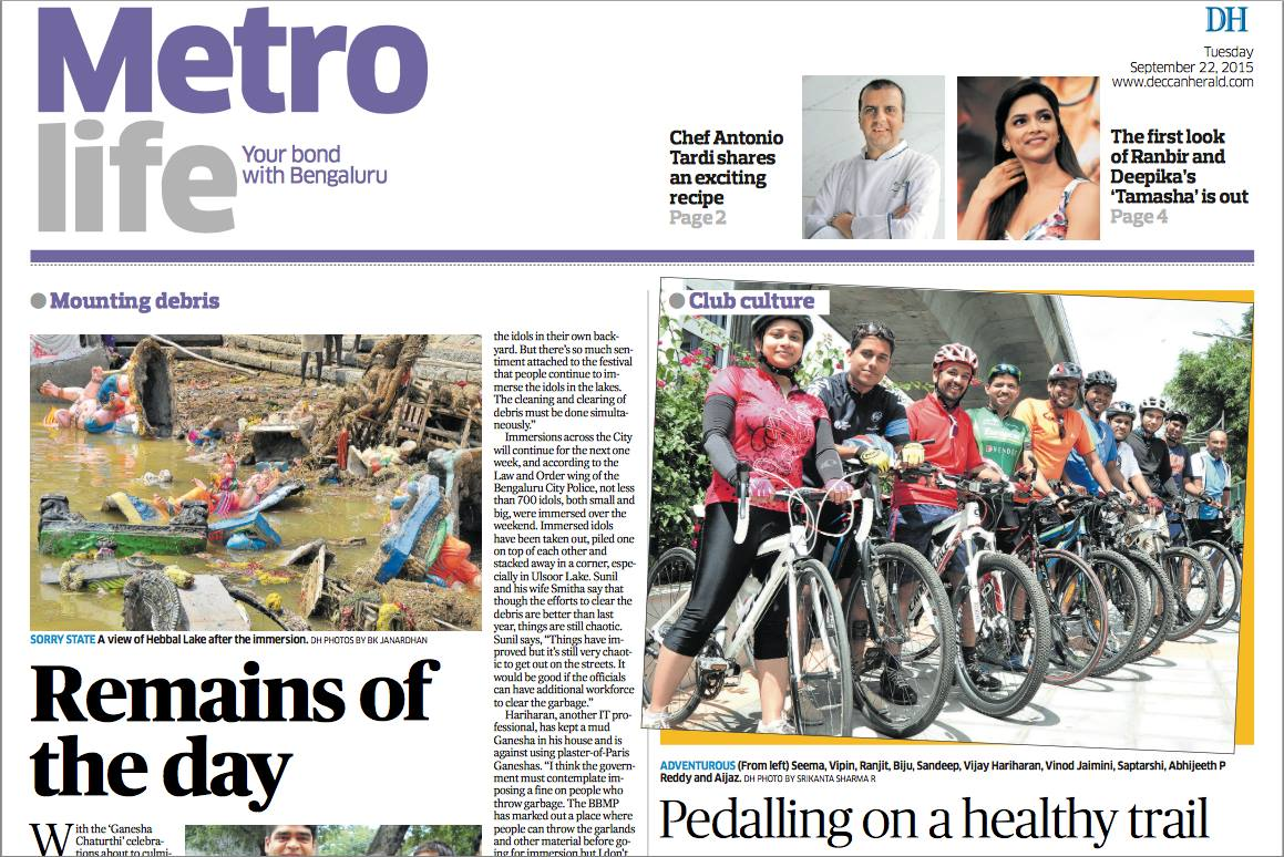 Biju Kunnappada and Cycling Boutique in news - Times of India Metro Life