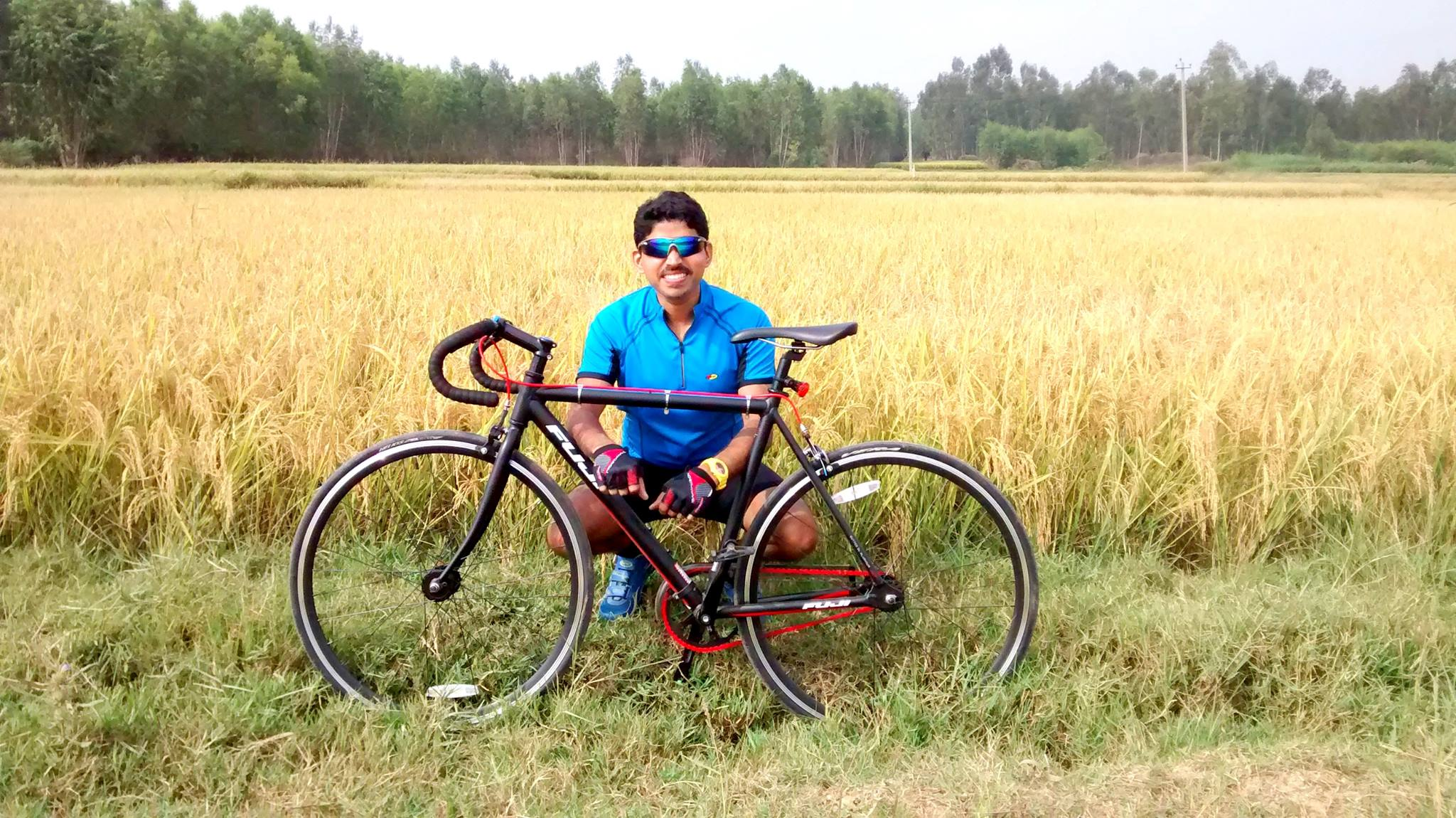 Biju Kunnappada on weekend cycling ride in India with the Fuji Singlespeed bicycle