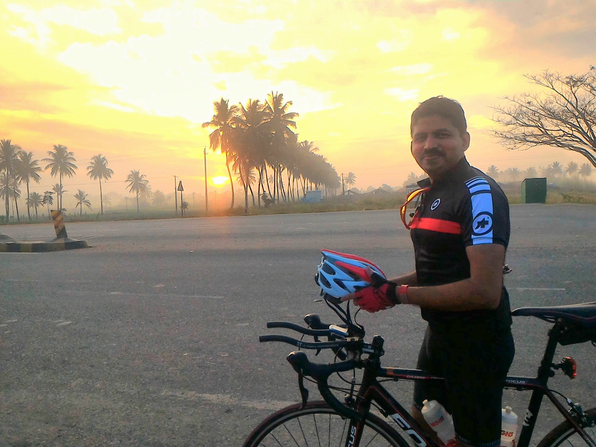 Biju Kunnappada on his morning cycling ride in Bengaluru, India - via Bangalore Roadsters Cycling Group