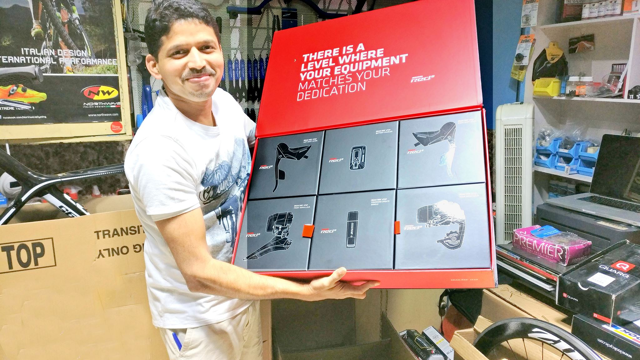 Biju Kunnappada with SRAM ETap Electronic Groupset at his state of the art bicycle workshop in Bengaluru, India