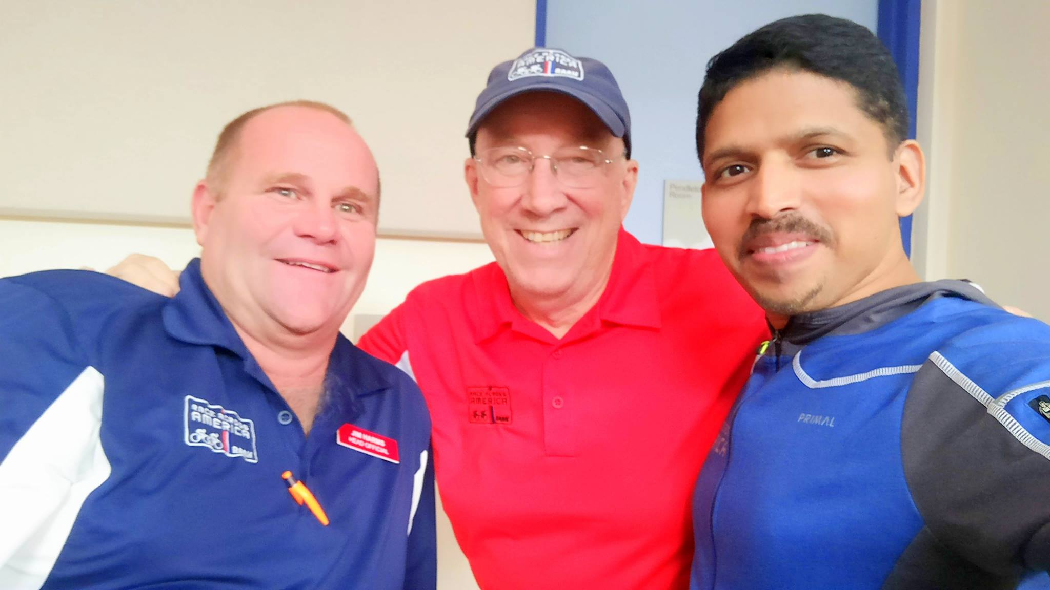 Biju Kunnappada with the President of Race Across America Fred Boethling and Rick at 2017 RAAM as Crew Cheif for the team from India - Ocean Side, California