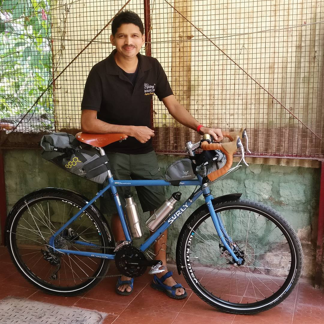 Biju Kunnappada wth Surly Disc Trucker / Surly Longhaul Trucker Touring Bike with Brooks Saddle and custom build done from Cycling Boutique