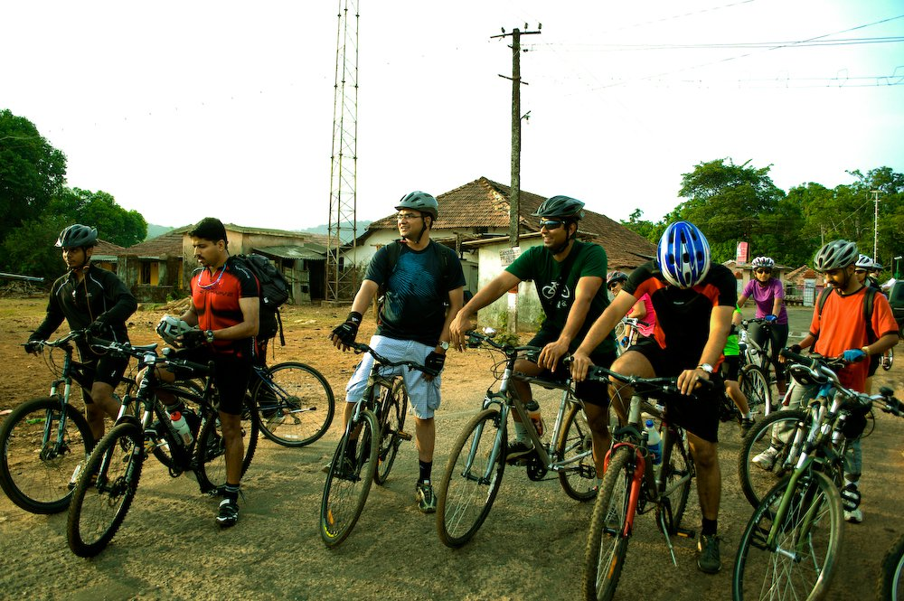Biju Kunnappada with Riders at Agumbe, Western Ghats on Cycling and More group ride