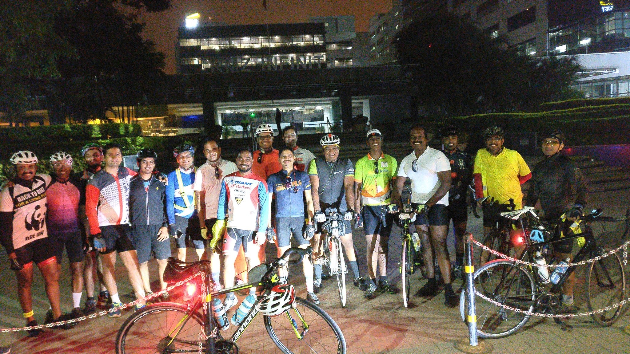Biju Kunnappada on his regular epic long distance ride, from Bengaluru to Tirupati with Bangalore cyclists and friends