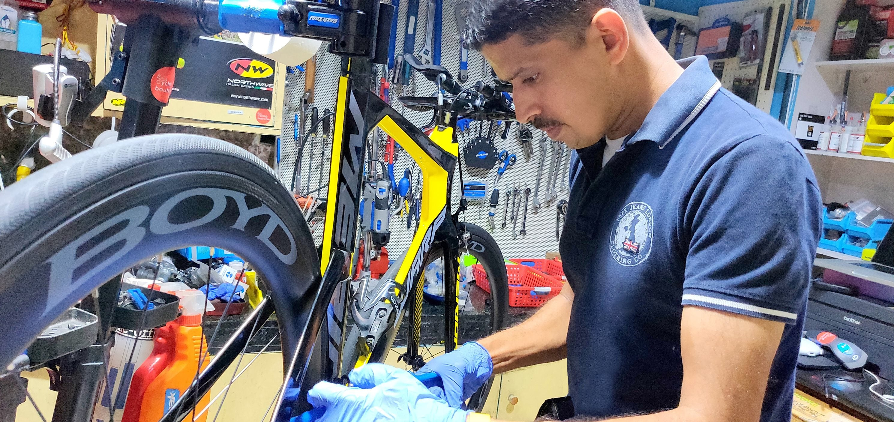 Biju Kunnappada working on Merida Warp Carbon TT Bike