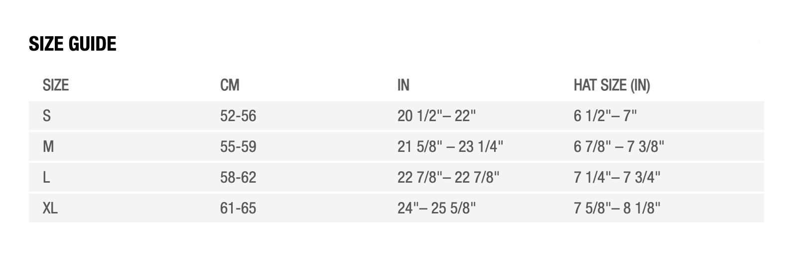 Bell Helmet Size Guide - Cycling Boutique