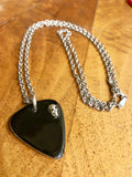 Sterling Silver Guitar Pick with Double Sided Black Enamel and Skull
