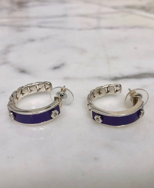 Sterling Silver with Purple Enamel ID Earrings