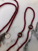 Ruby Beaded Necklace with Diamond Pave Charms & Hand Enameled Smiley Face Guitar Pick