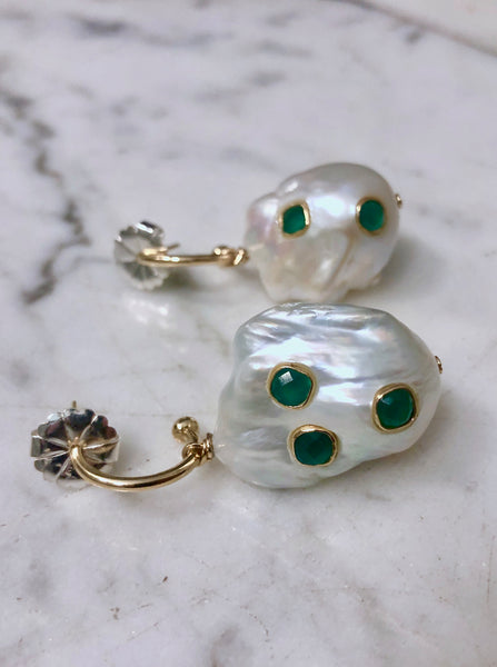 Baroque Pearl Earrings with Emerald Green Stones and Solid Gold Accent Hardware